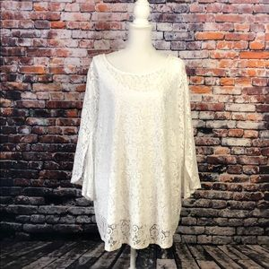 RUBY RD WOMAN WHITE LACE BLOUSE SZ 3X